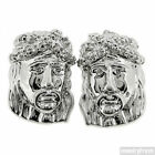 Silver Finish High End Detailed Jesus Face CZ Earrings