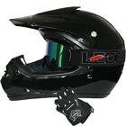 LEOPARD Youth Junior Kids Motorbike Motocross MX Helmet Black+Goggles+Gloves Set