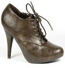 Dark Brown Crinkle Faux Leather Zipper Lace Up Fashion Oxford Ankle Bootie Boot