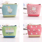 GIRL STUDENT COIN PURSE ANIMAL SHEEP ZIPPER PU LEATHER WALLET POUCH STORAGE BAG