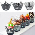 Halloween Cupcake Wrappers Decorations Bat Cobweb Spider Haunted House Black