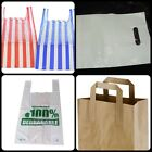 CARRIER BAGS POLYTHENE / BROWN SOS PAPER / VEST & PATCH STYLE / TAKE AWAY BAGS /