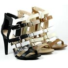 Faux Leather Buckle Strap Open Toe Dress Evening High Heels Delicious Kiara-s