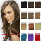 New Tape In 100% Human Remy Hair Extensions 20pcs Straight Pre-bond Hair