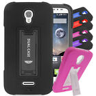 For Alcatel OneTouch EC2 Hybrid Hard Rubber w T Stand Case Colors