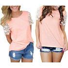 Womens Summer Casual Short Sleeve Shirt Tops Blouse Ladies Lace Top Tank