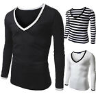 Mens Slim Fit V Neck Long Sleeve T-Shirt Stylish Casual Muscle Shirts Tops Tee