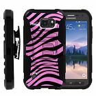 For Samsung Galaxy S6 Active Rugged Holster Belt Clip Stand Case  PINK ZEBRA