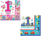 32 1st First Birthday Party Paper Napkins Serviettes Blue Cars / Pink Flowers