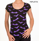 BANNED Goth T Shirt Top BATS All Over ~ Dusk To Dawn Purple All Sizes