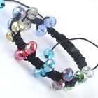 1pc Faceted Crystal Glass Hematite Ball Bead Bracelet Woven Macrame Braided Gift