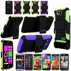 Hybrid Armor Hard Soft Holster Belt Clip Kickstand Case For Many Phones Model