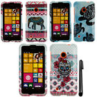 For Nokia Lumia 530 Elephant Aztec Turtle PATTERN HARD Case Phone Cover + Pen