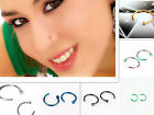 Fake Stud Earrings Goth Punk Clip On Piercing Body Nose Lip Rings Hoop Ear 2PCS