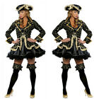 Sexy Women Pirate Fancy Costume Halloween Deluxe Dress Hat Cosplay Outfit