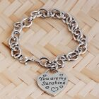New Women Stainless Steel LOVE Carved Pendant Charm Chain Lobster Clasp Beacelet