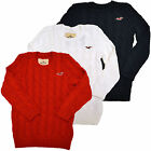 Hollister Sweater Cable Knit Embroidery Seagull Womens Pullover Long Sleeve V219