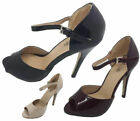 Ladies Shoes Catwalk Silvana Black Burg Or Nude Patent Peep Toe MaryJane Heels