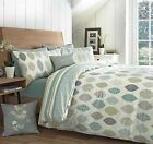 Appletree® LEAF REVERSIBLE DUVET COVERS QUILT SET 100% COTTON AZUKI BLUE GREEN