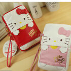 Sanrio Hello Kitty Leather Pouch Case Zip Bag Wristlet Stap