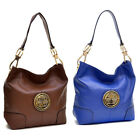 Dasein Gold-Tone Soft Faux Leather Emblem Tote Hobo Shoulder Bag Handbag Purse