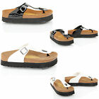 Womens ladies birkenstock gizeh patent moulded footbed chunky sandals slippers