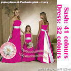 long sash formal wedding Bridesmaid evening prom party ball dress gown + Pannier