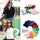 Sexy Women's Ladies Casual V-NECK Long Sleeve Cotton Tee T-Shirts Tops Blouses