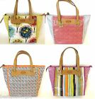 NEW-FOSSIL KEYPER STRIPES+BIRDS,TREES+DIAMOND BRIGHT MULTI SHOPPER,TOTE,BAG