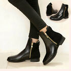 short ankle boots flat - Fashion Women Short Ankle Zipper Martin Boots Low Flat Heel Bootie Shoes SALE