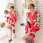 New Arrival Sexy Women Cosplay Red Japanese Kimono Lingerie Floral Dress+Thong