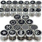 1x Punk Gothic Jewelry Stainless Steel Round Plain Mens Ear Stud Barbell Earring