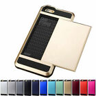 "Hard Armor Cover Case W/ Slide Card Slot Holder For iPhone 5S 6 4.7"" 6 Plus 5.5"""