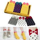Women Cute 3D Bow Polka Dot Pattern Candy Color Cotton Blended Ankle Short Socks