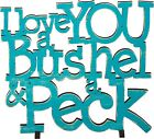 """NEW!~Blue Wood Word Art Sign~""""I LOVE YOU A BUSHEL AND A PECK""""~Baby Boy~Stand"""