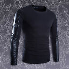 New Mans Fashion Korean Personality PU Leather Long Splice Sleeve T-shirt Tops #