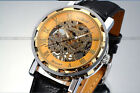 Classic Men's Gold Dial Skeleton Mechanical Sport Army Black Leather Wrist Watch