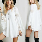 Sexy Women Autumn Long Sleeve Lace Party Evening Cocktail Casual White Dress