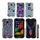 For Motorola Moto E Snap On PATTERN HARD Protector Case Phone Cover + Pen