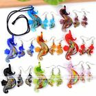 Cute Murano Lampwork Glass Pendant Necklace Earring Sea Horse Set Frienship Gift