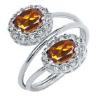 2.18 Ct Oval Natural Orange Red Madeira Citrine 925 Sterling Silver Ring