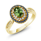 1.45 Ct Oval Green Tourmaline 18K Yellow Gold Plated Silver Ring