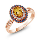 1.20 Ct Oval Yellow Citrine 18K Rose Gold Plated Silver Ring
