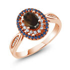 1.35 Ct Oval Brown Smoky Quartz 18K Rose Gold Plated Silver Ring