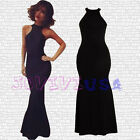 Women's Lady Floor Length Prom Dress Maxi Backless Electric Halter Back Dress
