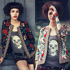 Women Long Sleeve Embroidery Print Slim Blazer Suit Jacket Coat Outwear US HF1