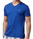 NEW LACOSTE MEN'S PREMIUM SPORT PIMA COTTON V-NECK SHIRT T-SHIRT OCEAN BLUE