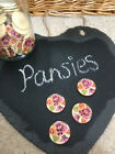 PANSIES (30mm) or MIXED Flowers (25mm) - Wooden Floral Print Buttons