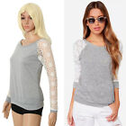 Womens Long Sleeve Shirt Casual Girl Lace Blouse Loose Cotton Tops T Shirt A6