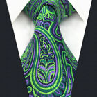 Men's Neckties Ties Paisley Green Purple Q18 Accessories Silk Fashion Extra Long